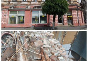 VIDEO, FOTO | O bucată din tavanul unei clădiri din Făgăraș s-a prăbușit, în toiul nopții