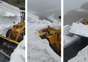 Zăpadă. Încă multă zăpadă pe Transfăgărășean (video)